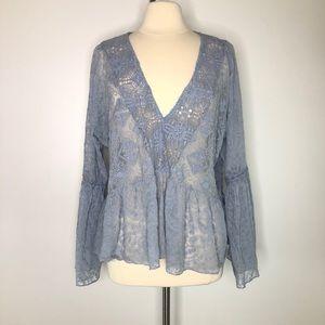 Hillary Scott dusty blue Lace Crochet Blouse